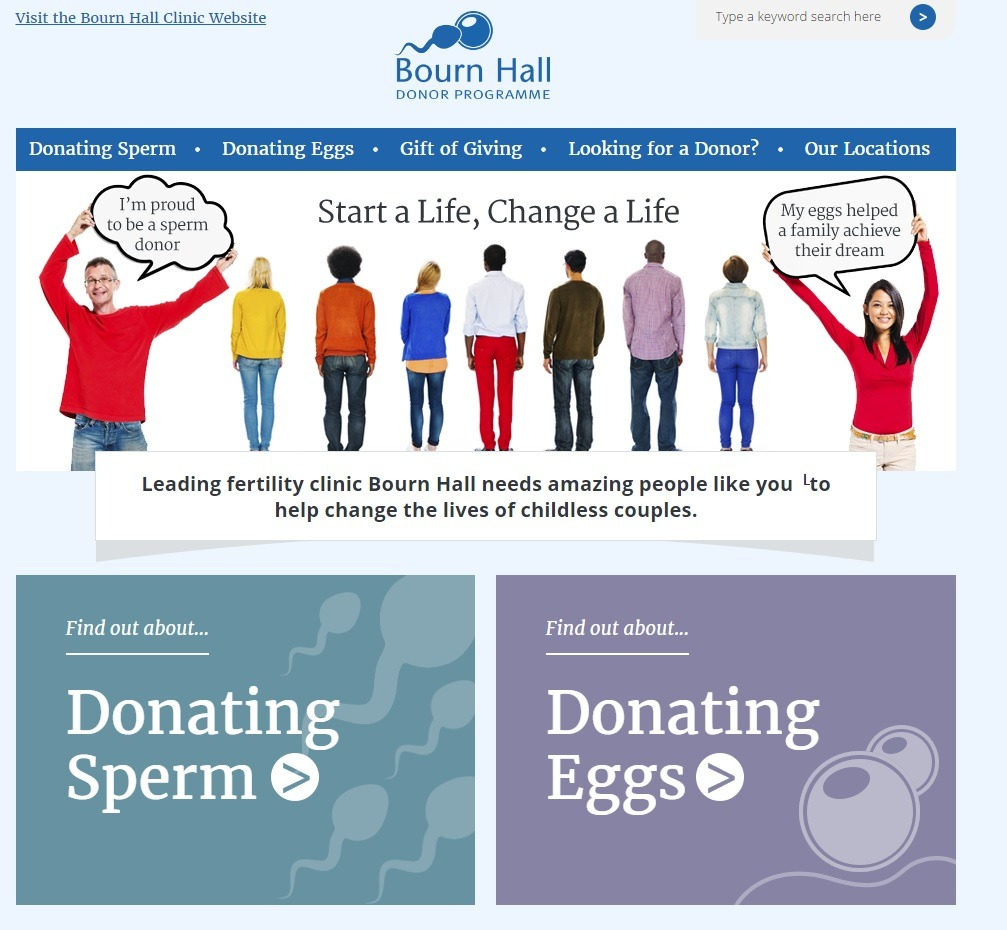 Bourn Hall donor website - market research