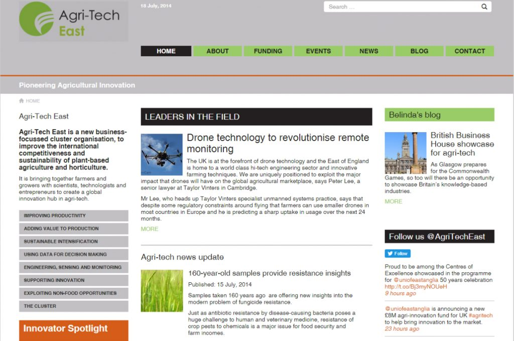 Web design Agri-Tech East old site