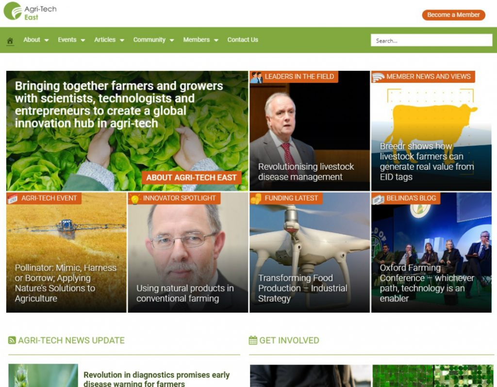 Web redesign Agri-Tech East new website 2019